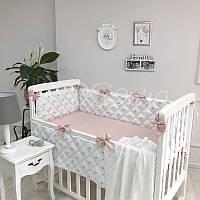 Комплект Маленькая соня Корона стандарт защита+простынь детский пудра арт.0700272