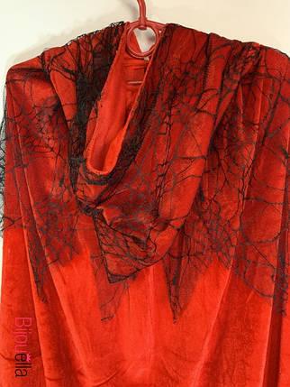 Довгий червоний оксамитовий плащ з капюшоном і вуаллю костюм Відьми на Хелловін, фото 2