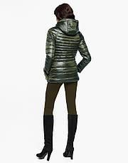 Женская короткая осенне-весенная куртка с мехом на карманах хаки размер  42 44 46 48 50 52 54, фото 3