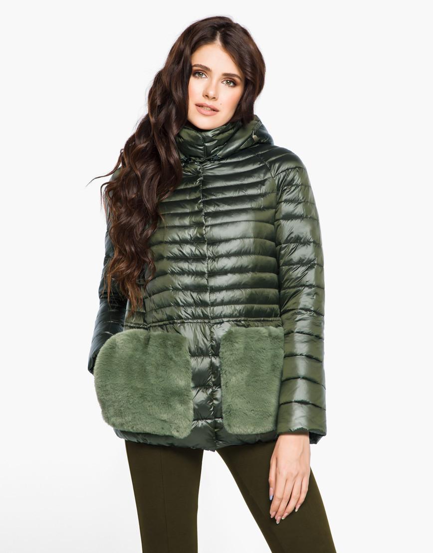 Женская короткая осенне-весенная куртка с мехом на карманах хаки размер  42 44 46 48 50 52 54