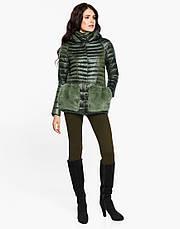 Женская короткая осенне-весенная куртка с мехом на карманах хаки размер  42 44 46 48 50 52 54, фото 2