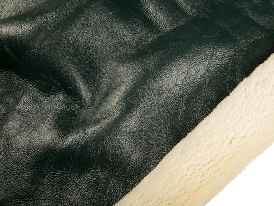 Дубленка Интерфино зеленая с покрытием напалан и мехом ричолино