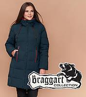 Braggart Youth 25175 | Куртка длинная женская большого размера темно-зеленая