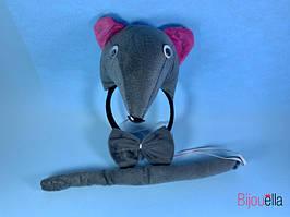 Комплект детский крыски обруч бабочка хвостик серая мышка