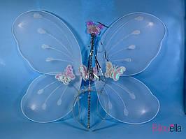 Детский комплект Феи светлый 3в1 обруч крылья волшебная палочка
