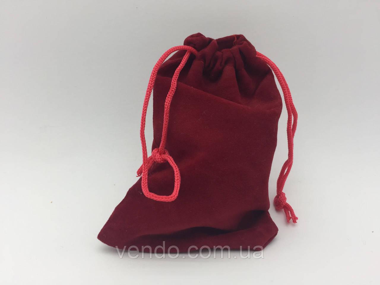 Чехол для рун, мешочек велюровый 11х7 см. Бордовый