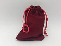 Чехол для рун, мешочек велюровый 11х7 см. Бордовый, фото 1