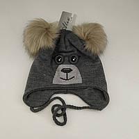 Детская зимняя шапка с завязками для мальчика (махра), р. 46-48 см/9-18 мес.