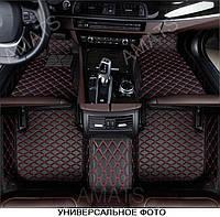 Коврики PorschePanamera из Экокожи 3D (2013+) Чёрные с Красной нитью