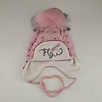 Детская зимняя шапка с завязками для девочки (флис), р. 44-48 см/6-18 мес.