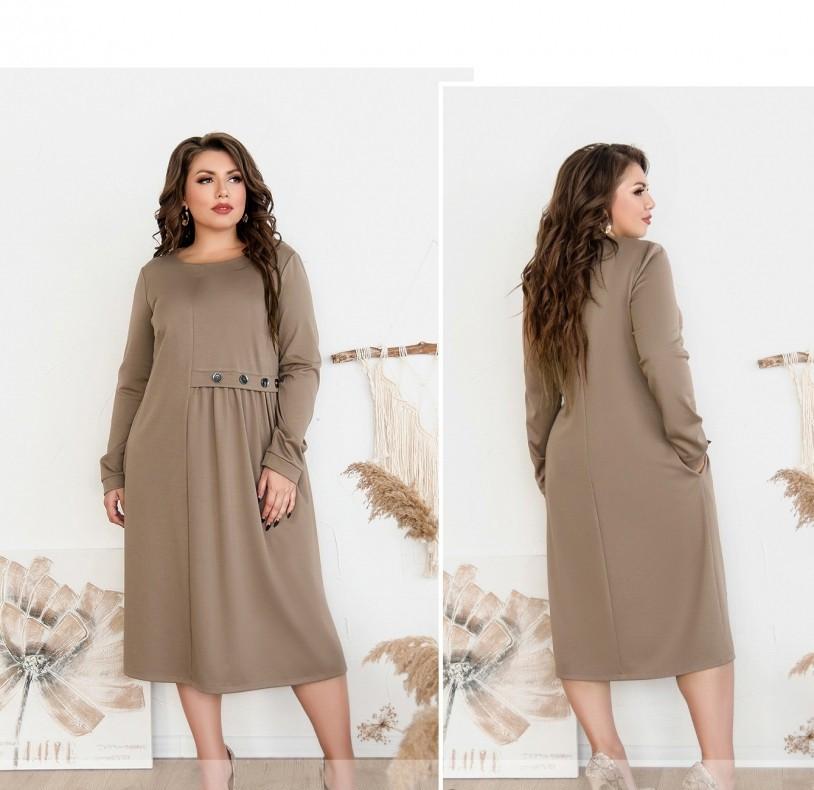 / Размер 52,54,56,58 / Женское простое, но очень стильное платье / 101-01-Мокко
