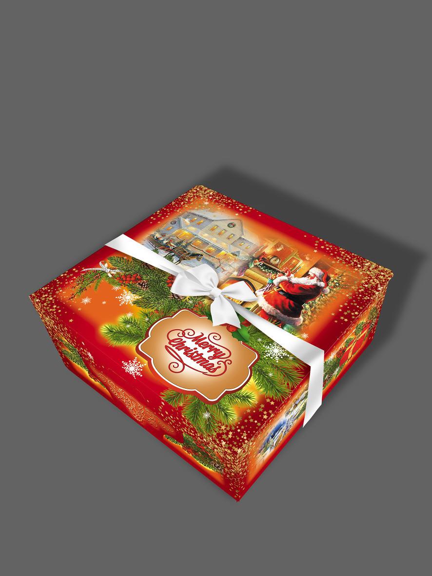 Подарочная бумажная коробка с лентой 16*16*7 см, 600 грамм