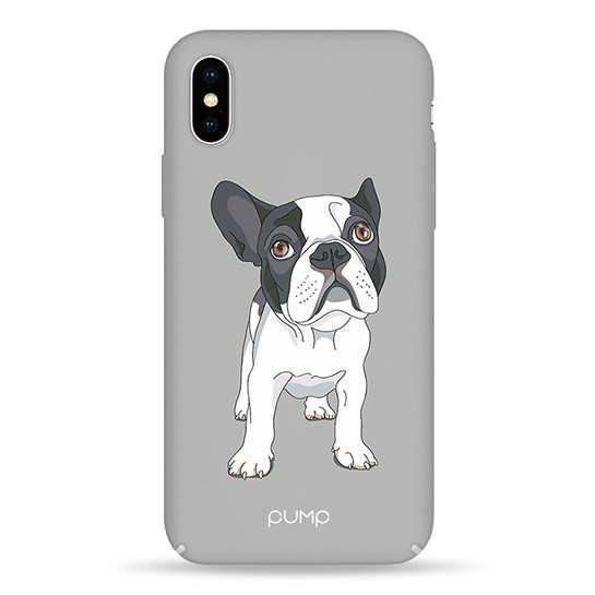 Pump Tender Touch Case чехол для iPhone XS MAX Mops On Gray