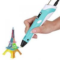 3D ручка PEN-2 с Led дисплеем, 3Д ручка 2 поколения Smartpen, MyRiwell цвет голубая