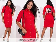 Модное женское джинсовое платье на кнопках больших размеров 48 - 62