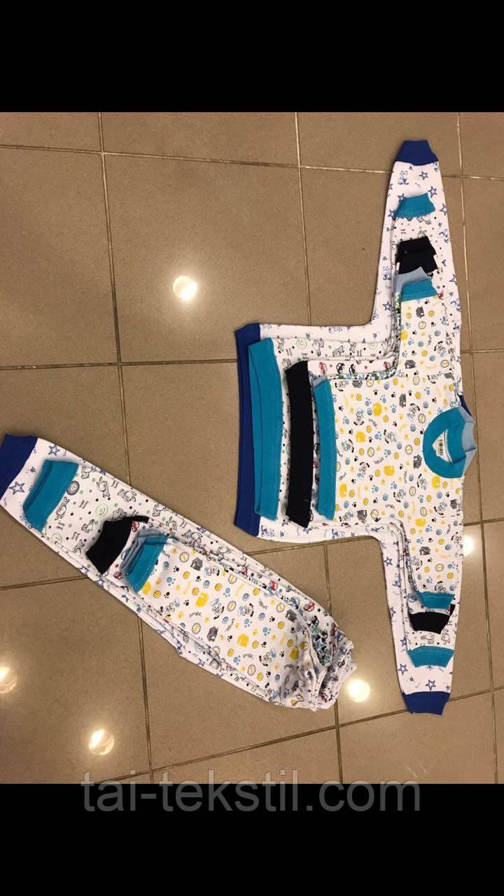 Пижама детская байковая с манжетами Турция 1-6 лет