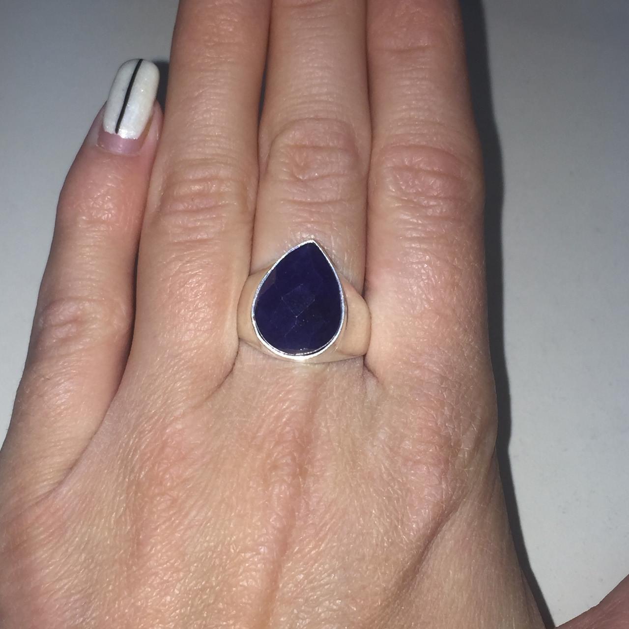 Сапфир кольцо с камнем сапфир в серебре. Кольцо капля с сапфиром размер 18,5-19 Индия