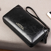Мужской кошелек клатч черный на двойной застежке-молнии код 357