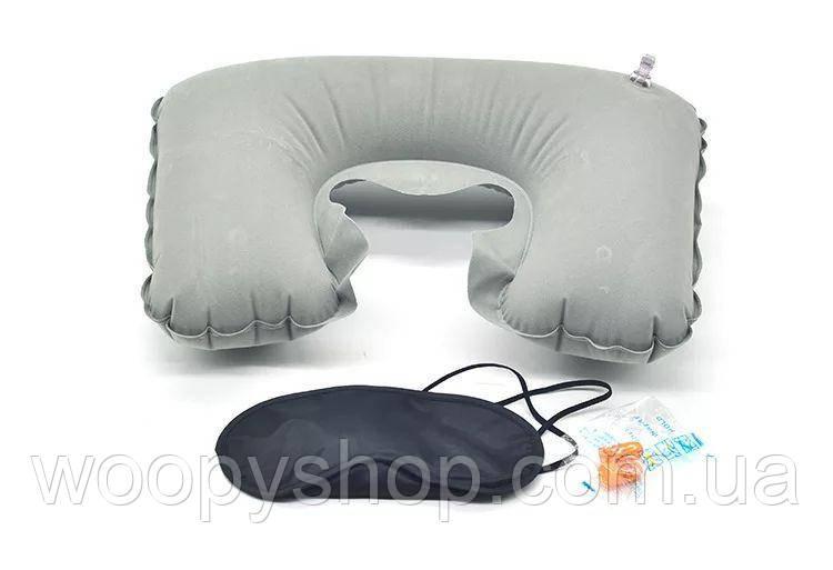 Набор для путешествий с комфортом: подушка под голову, беруши, повязка на глаза.