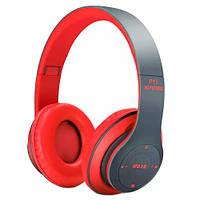 Наушники беспроводные Bluetooth гарнитура P15 MicroSD FM, красные