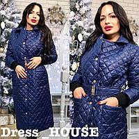 Стильное женское пальто, стеганое, осеннее, синее, 913-026-1, фото 1