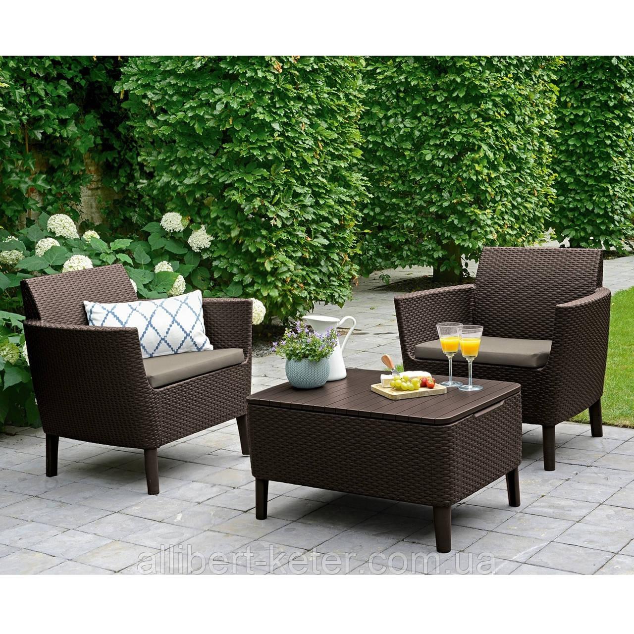 Набор садовой мебели Salemo Balcony Set Brown ( коричневый ) из искусственного ротанга