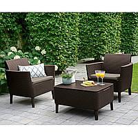 Набор садовой мебели Salemo Balcony Set Brown ( коричневый ) из искусственного ротанга, фото 1