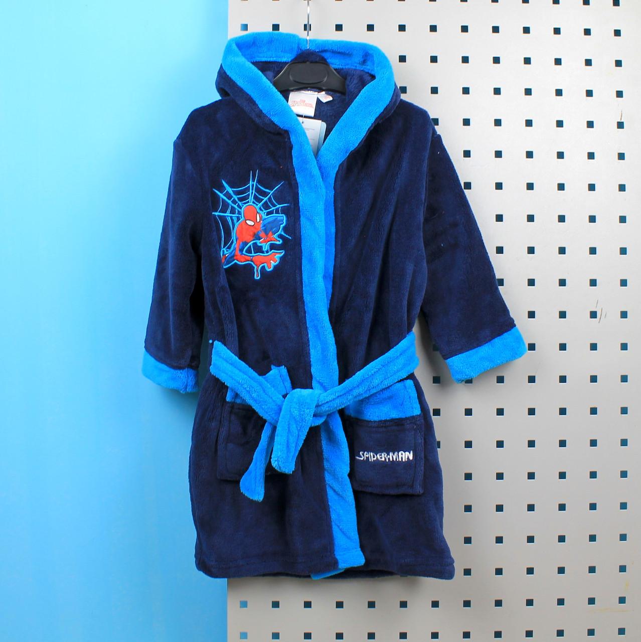 Детский Халат для мальчика синий Человек Паук травка тм Cactus Clone размер 3