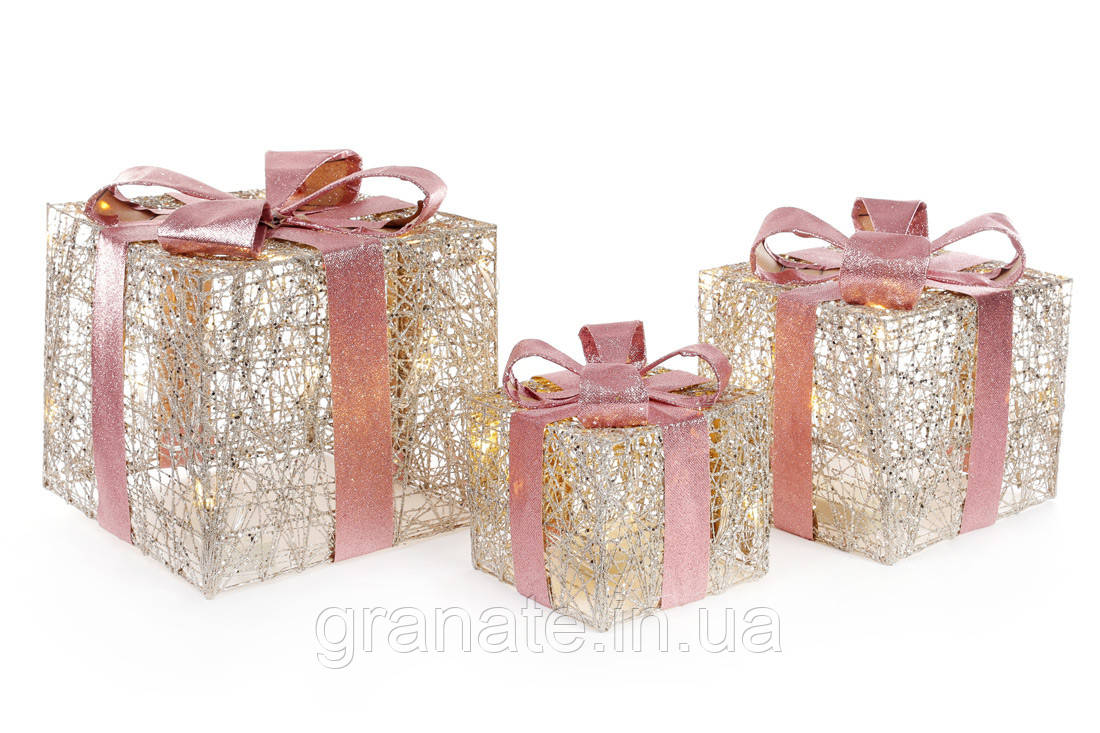 Набор декоративных подарков (3шт) с подсветкой, 20см, 25см, 30см,