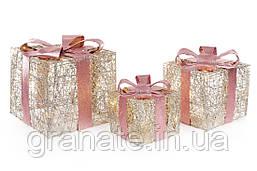 Набор декоративных подарков под ёлку (3шт) с подсветкой, 20см, 25см, 30см,