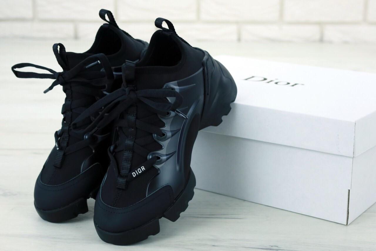 Женские кроссовки Dior D-Connect Black черные. ТОП реплика ААА класса.