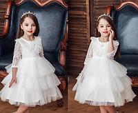 Плаття святкове з довгим рукавом Феєрія біле