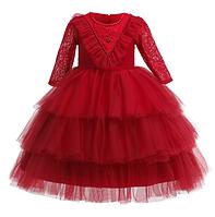 Плаття святкове з довгим рукавом Феєрія червоне