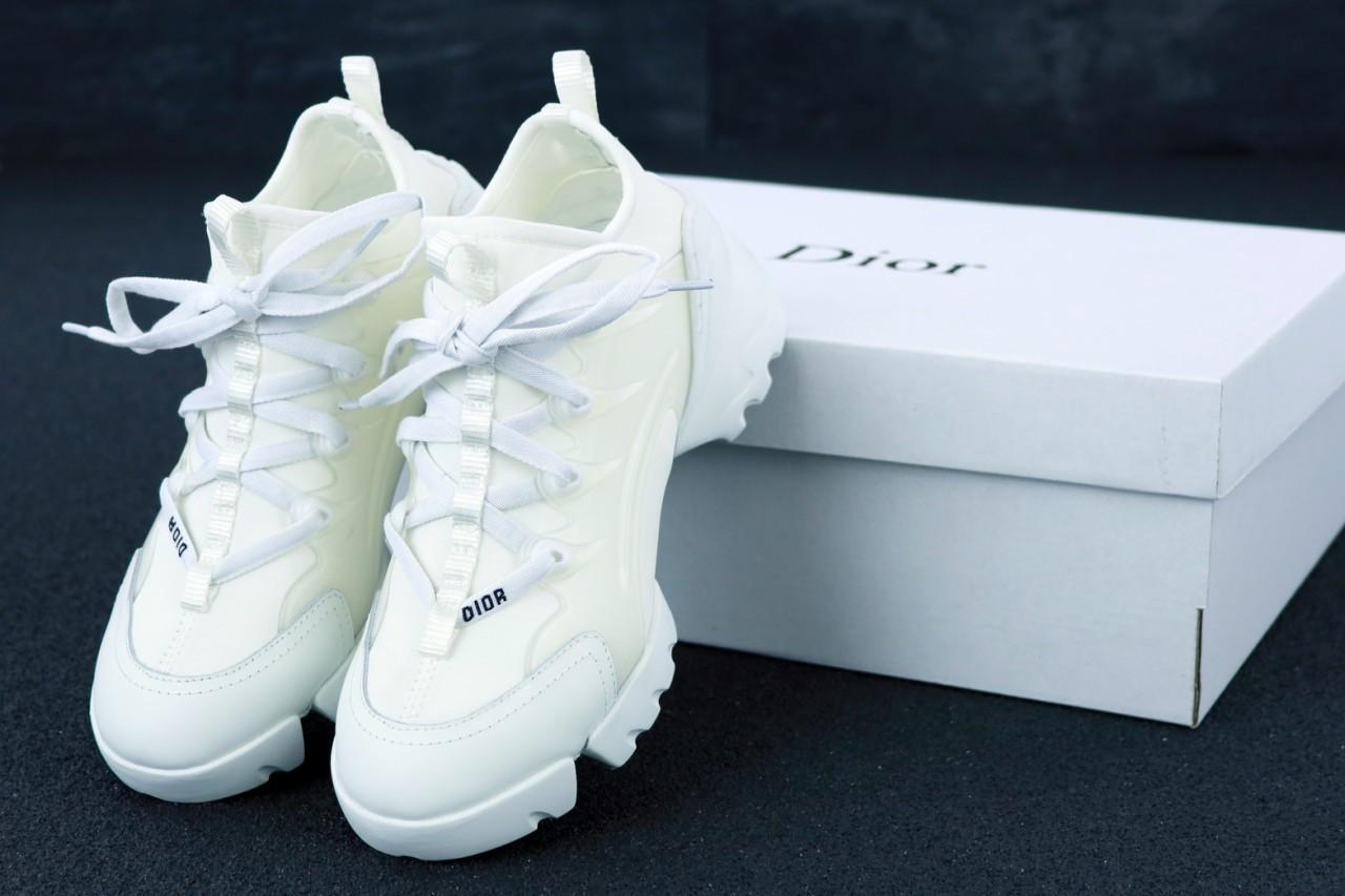 Женские кроссовки Dior D-Connect Black белые. ТОП реплика ААА класса.