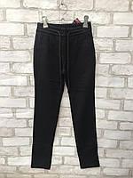 Подростковые брюки на флисе для девочки на резинке 7-12 лет, чёрного цвета