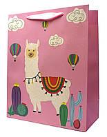 "Подарочные пакеты ""Ламы розовые"". Размер: 26*32*12см."