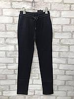 Подростковые брюки на флисе для девочки на резинке 7-12 лет, темно-синего цвета