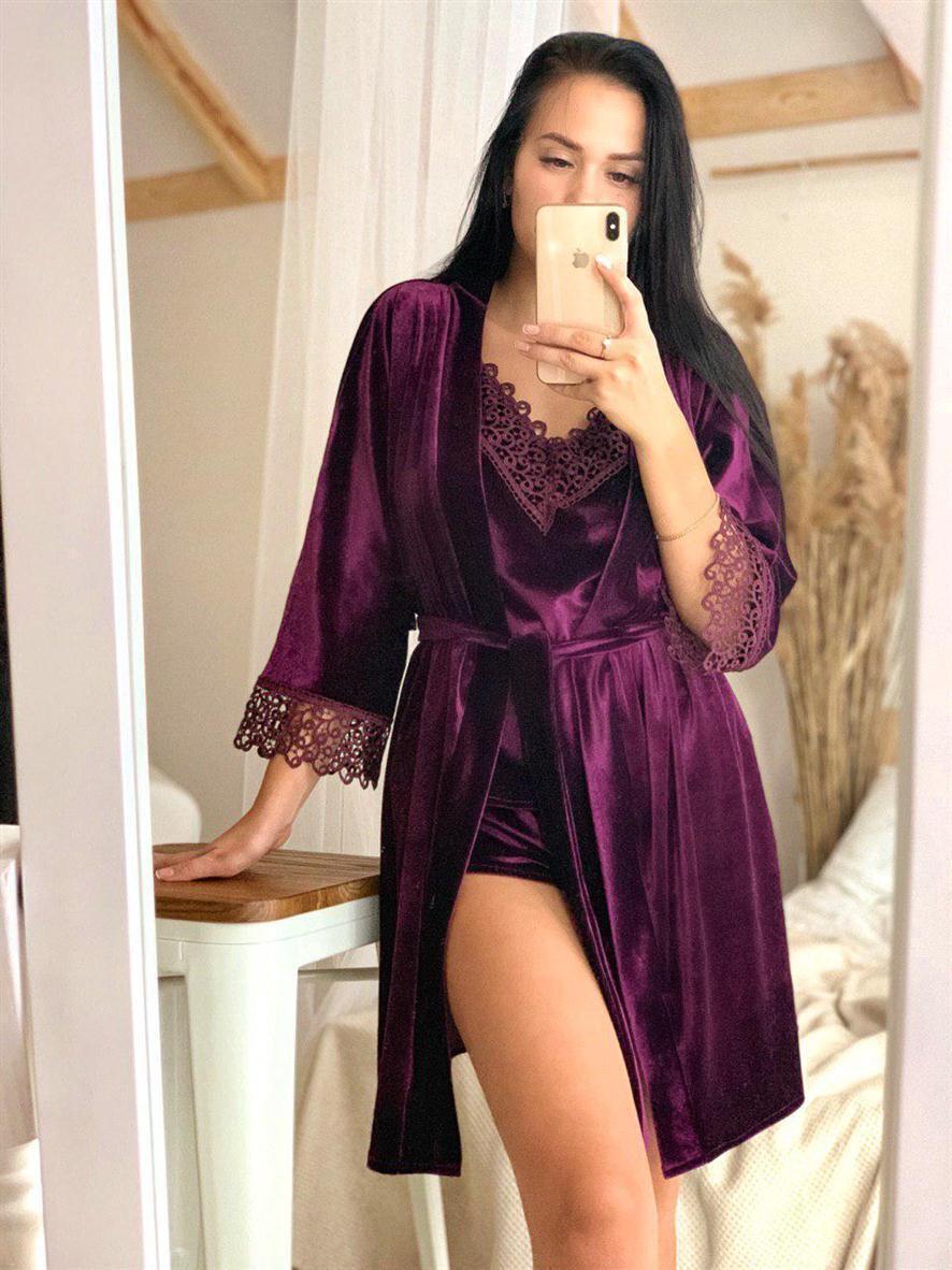 Бархатный набор (халат+ пижама) фиолетовый