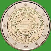 Германия 2 евро 2012 г. 10 лет наличному евро. UNC
