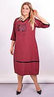 Платье для женщин плюс сайз «Таис» (Бордовое, серое, синее | 50-52, 54-56, 58-60, 62-64)