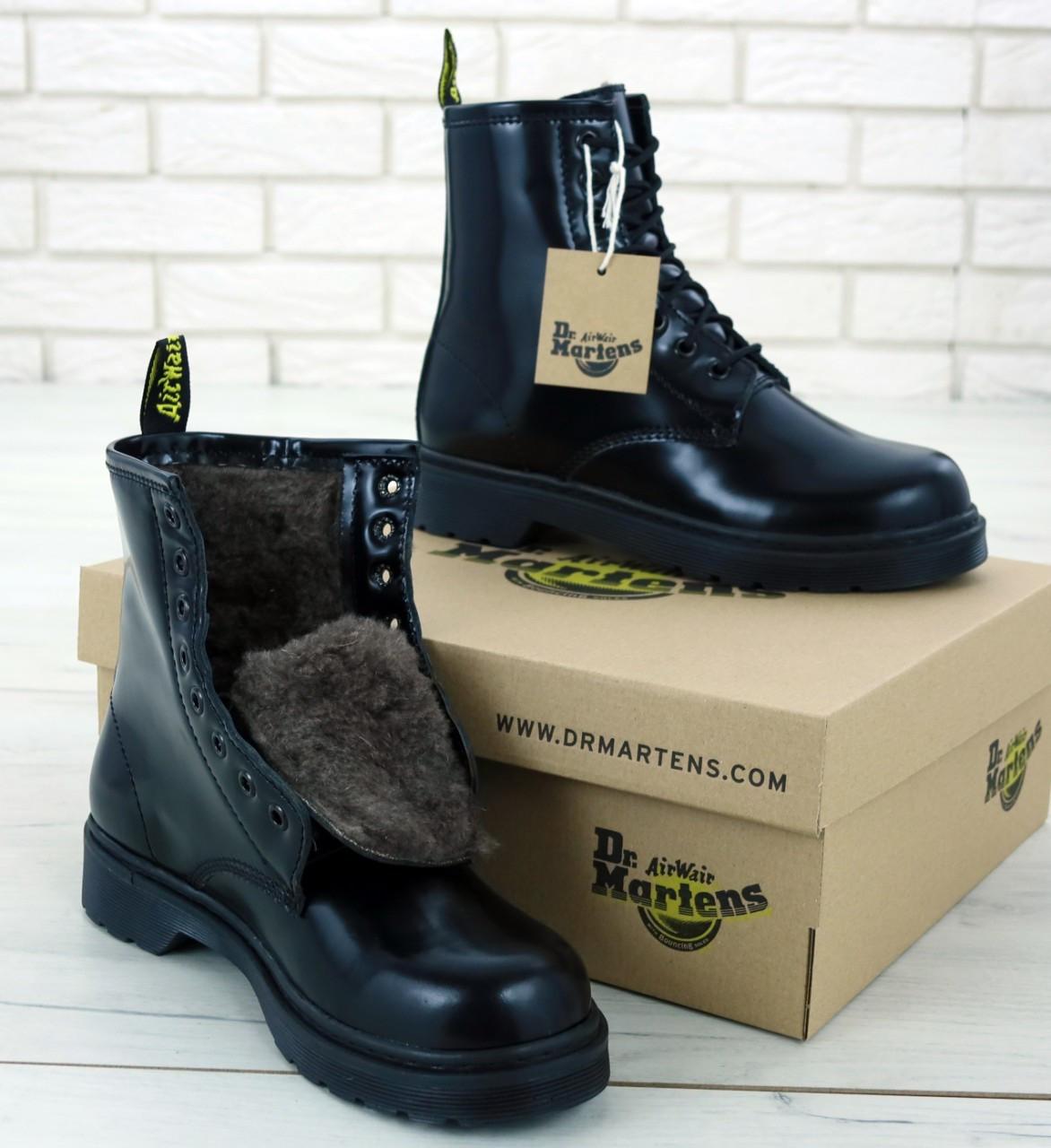 Зимние женские ботинки dr.martens mono black. ТОП Реплика ААА класса.