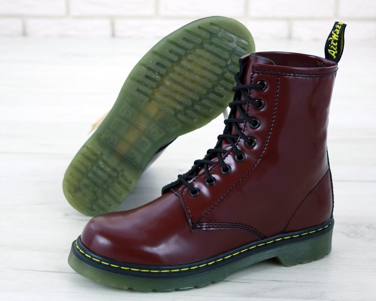 Женские ботинки Dr.Martens Brown кожа, демисезон черные. ТОП Реплика ААА класса.
