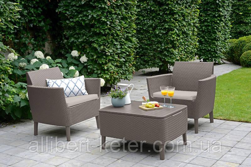 Набір садових меблів Salemo Balcony Set Cappuccino ( капучіно ) з штучного ротанга (Allibert by Keter)