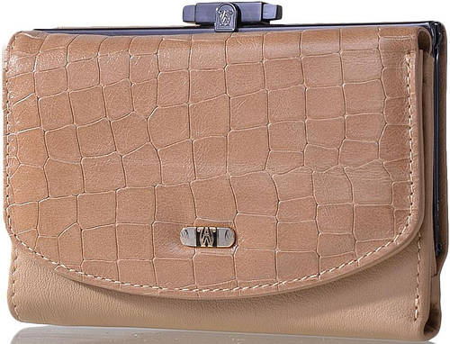 Кожаный женский кошелек WANLIMA (ВАНЛИМА) W21417390473-beige бежевый