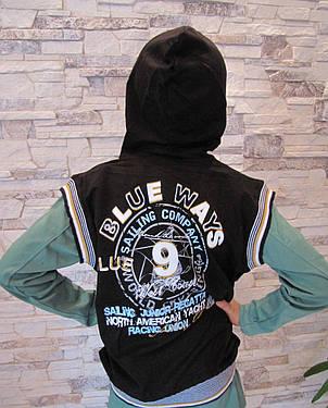 Безрукавка синяя для мальчиков с капюшоном 128,152,164 роста Гладиатор, фото 2
