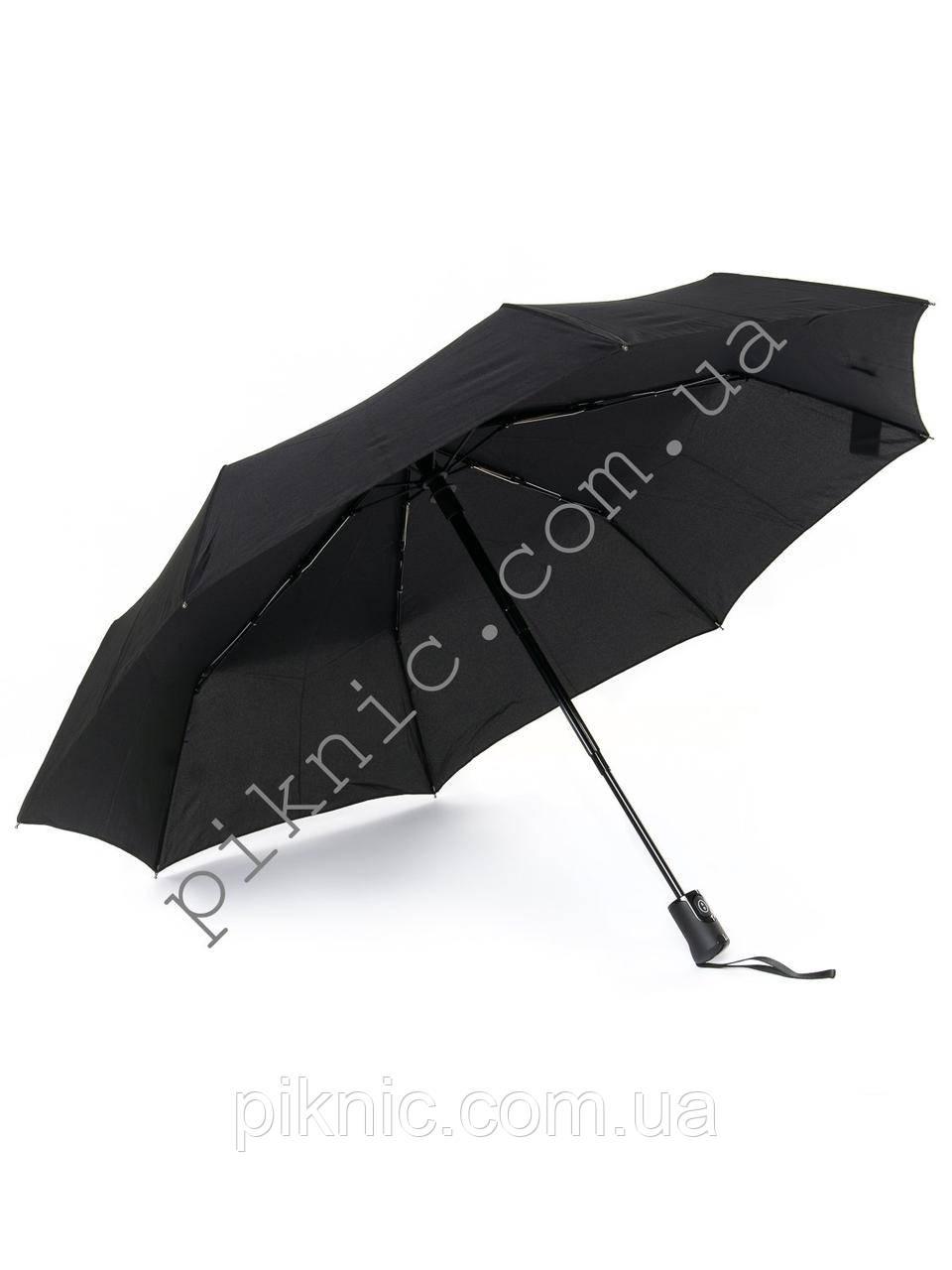 Маленький мужской зонт от дождя автомат: 3 сложения. Антиветер. Диаметр купола 97 см.