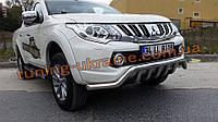Дуга с клыками на Fiat FullBack 2016-2019 Защита переднего бампера труба с грилем Фиат Фулбек 2016+