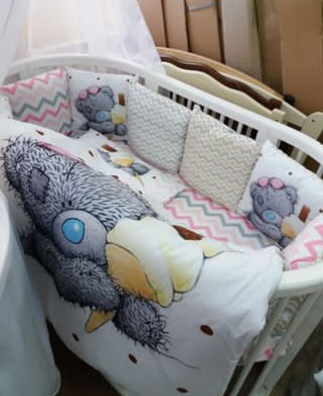 Детский постельный комплект в кроватку Мишка Тедди