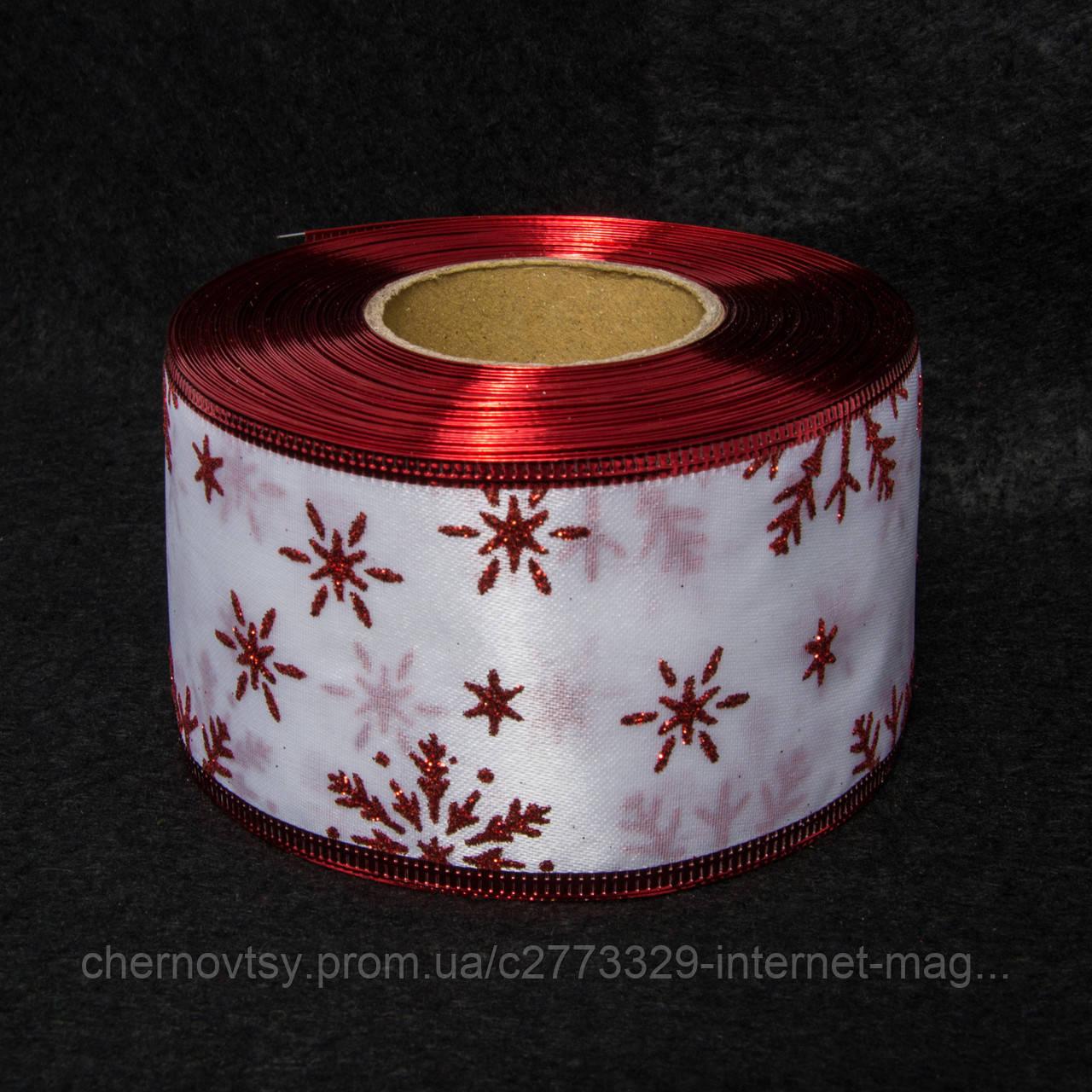 "Лента новогодняя "" Снежинка"" 6.3 см, 23 м"
