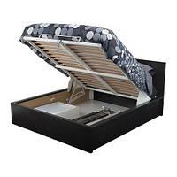 """ИКЕА """"МАЛЬМ"""" Кровать с подъемным механизмом, черно-коричневый 160*200см"""